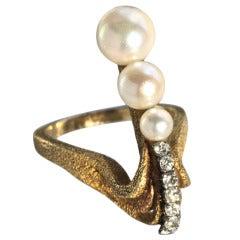 Mid-Century Pearl Diamond Gold Sculptural Ring