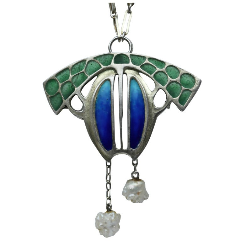 Levinger and Bissinger Jugendstil Silver Enamel Pearl Pendant Brooch Necklace 1