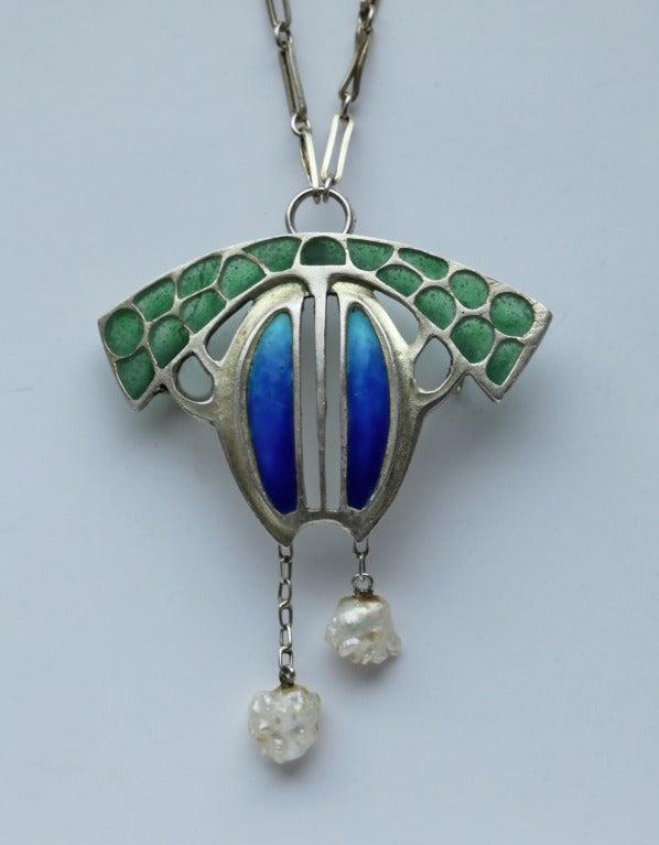 Levinger and Bissinger Jugendstil Silver Enamel Pearl Pendant Brooch Necklace 2