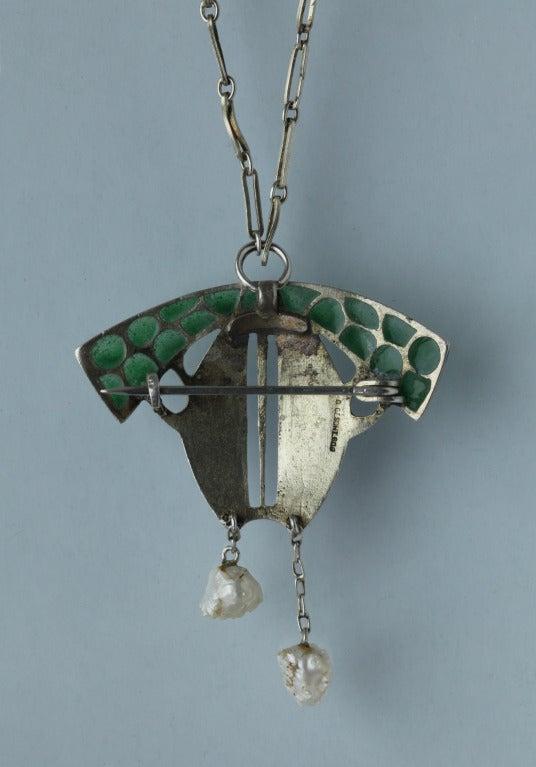 Levinger and Bissinger Jugendstil Silver Enamel Pearl Pendant Brooch Necklace 3