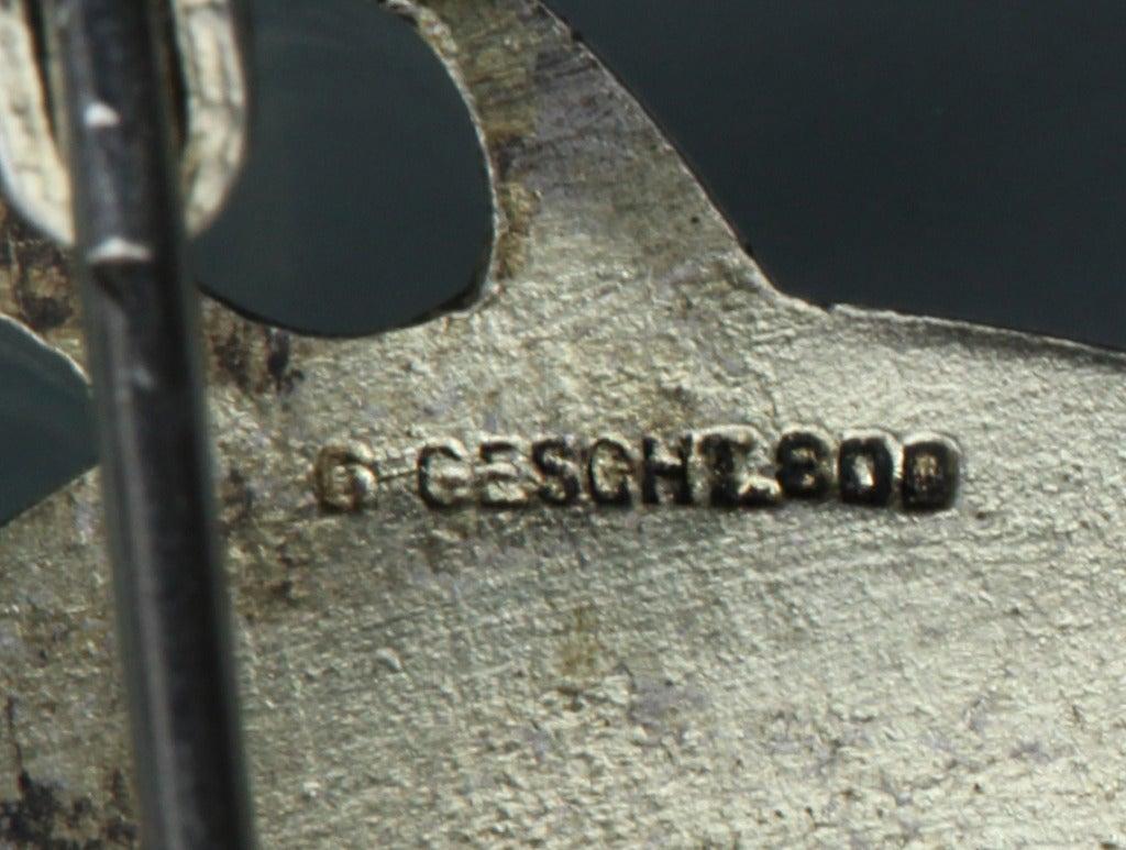 Levinger and Bissinger Jugendstil Silver Enamel Pearl Pendant Brooch Necklace 4