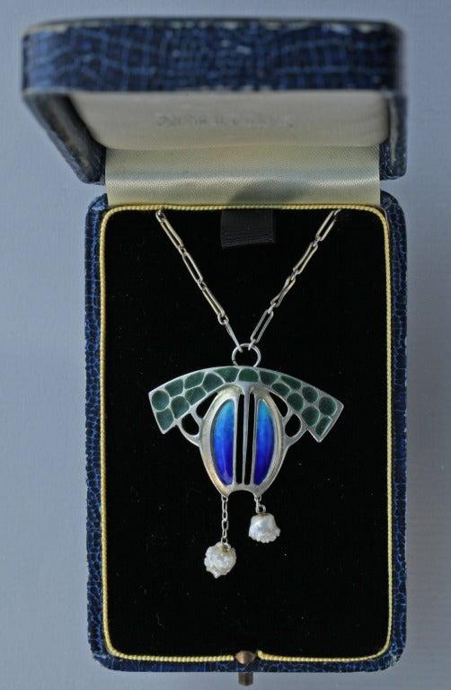 Levinger and Bissinger Jugendstil Silver Enamel Pearl Pendant Brooch Necklace 5