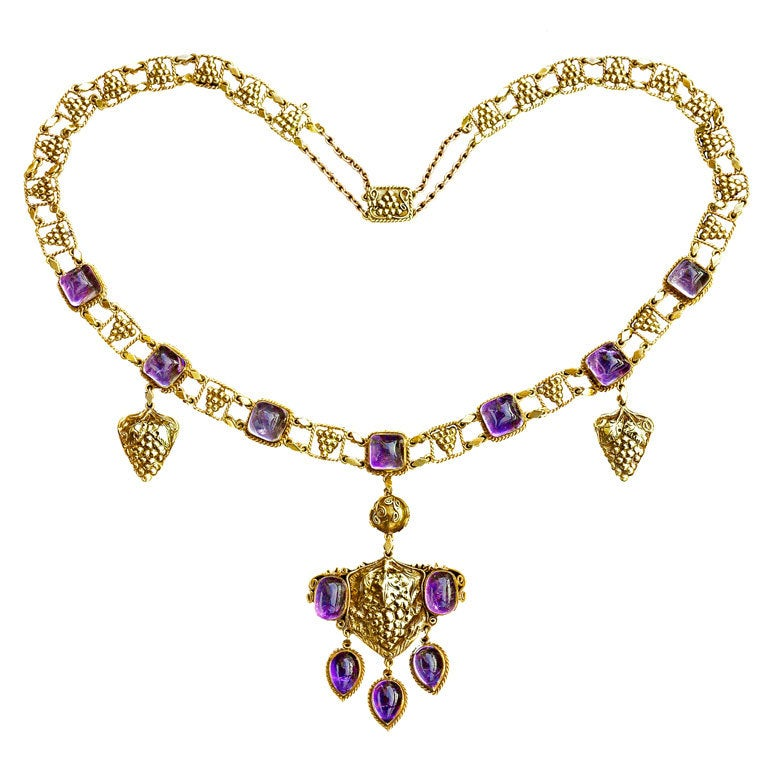Amethyst Gold Grapevine Necklace John Paul Cooper Arts and Crafts