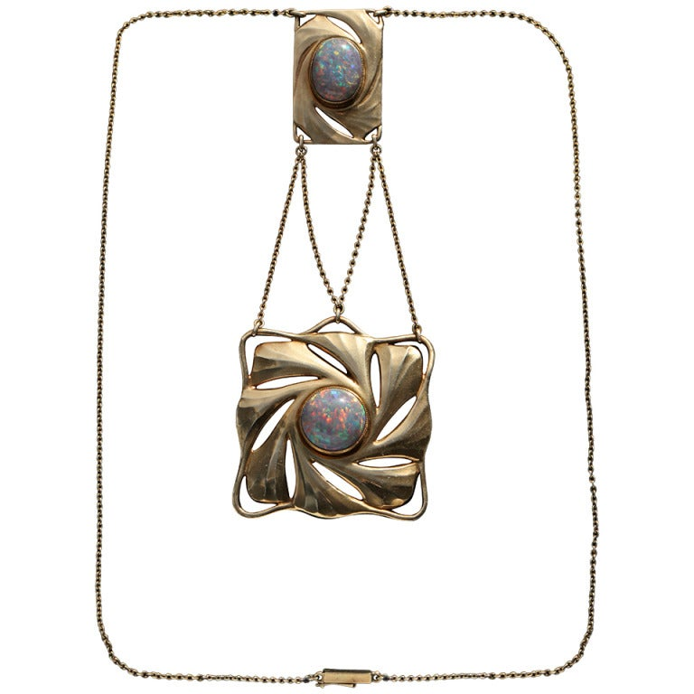 Paul Peter Pfeiffer Fine Secessionist Opal Gold Necklace 1