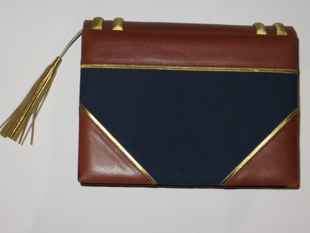 Paloma picasso leather and fabric handbag For Sale 1