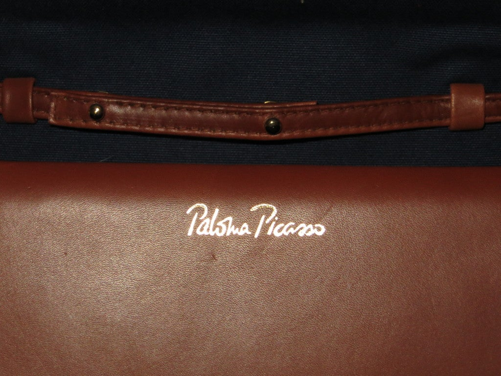 Paloma picasso leather and fabric handbag For Sale 3