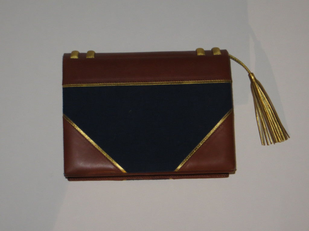 Paloma picasso leather and fabric handbag For Sale 4