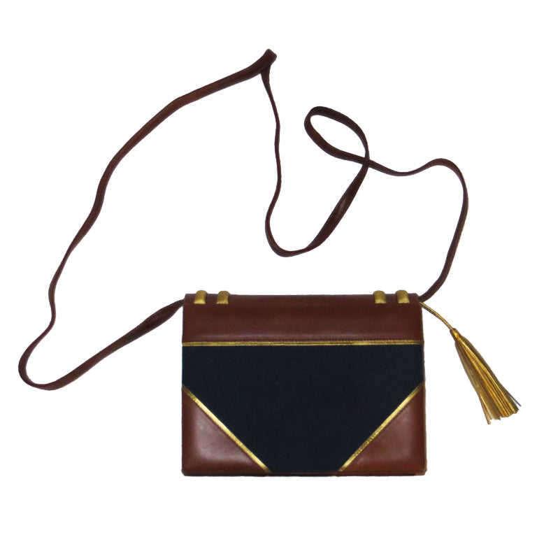 Paloma picasso leather and fabric handbag For Sale