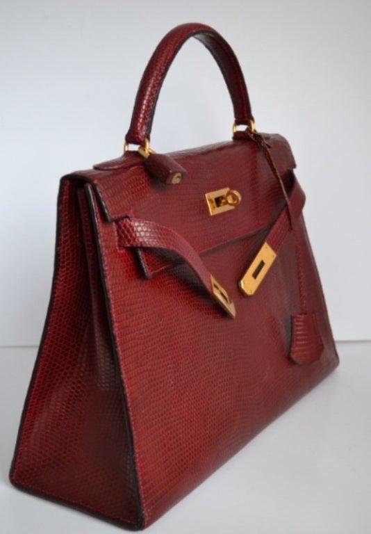 hermes birkin inspired bag - Hermes Kelly 32 Lizard Rouge H at 1stdibs