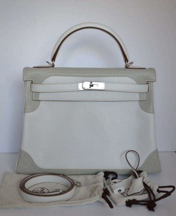 Hermes Kelly 32 Ghillies Argile and white at 1stdibs