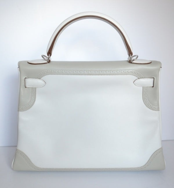 pink brighton purse - Hermes Kelly 32 Ghillies Argile and white at 1stdibs