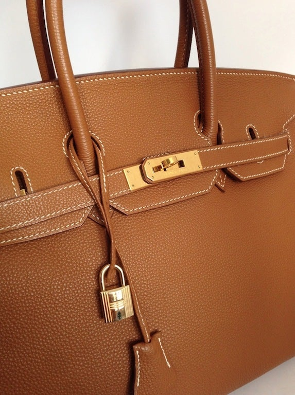 Authentic Herm¨¨s Birkin 35 in Togo Gold ghdw at 1stdibs