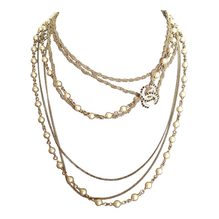 chanel necklace sautoir pearls at 1stdibs