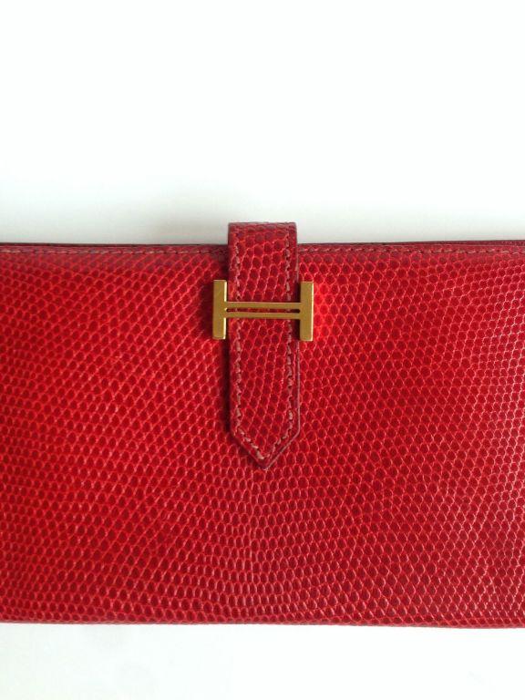 birkin shoulder bag - Hermes Bearn wallet Lizard Red at 1stdibs