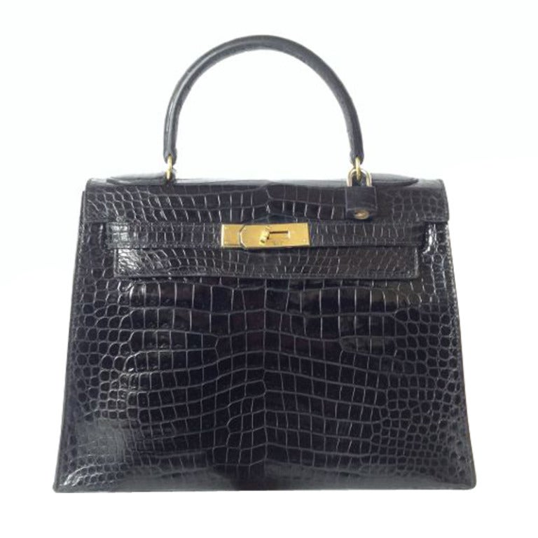 3c516f7928 Hermes Kelly 28 Black Croc