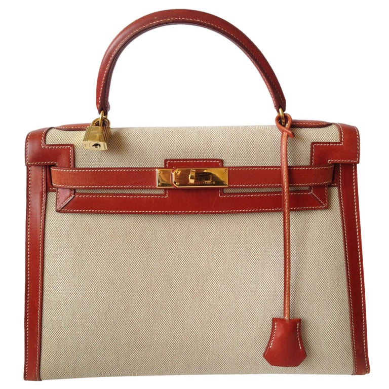Hermes Kelly 32 Bimatiere Box and canvas gold hardware at 1stdibs