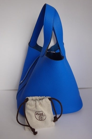 Hermes Picotin MM Bleu Hydra. Taurillon Clemence at 1stdibs