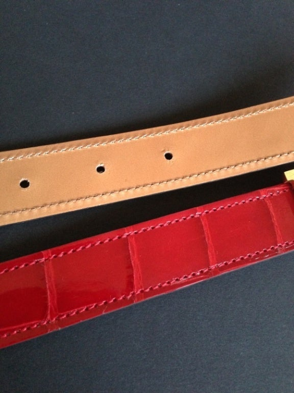 Hermes Buckle H / Constance + Belt Red crocodile at 1stdibs