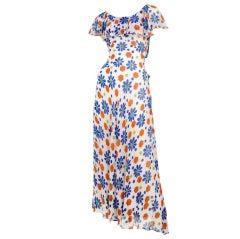 Chiffon Flower Print Gown / YSL-1080