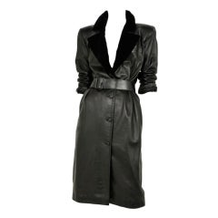 Black Leather Coat Dress / YSL-1049