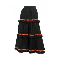 Wool Tiered skirt / YSL-1055