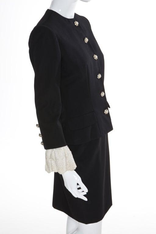 80s Jean Patou by Christian Lacroix Haute Couture Elegant Black Suit 2