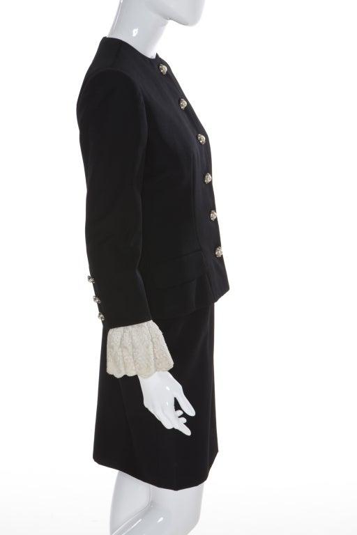 80s Jean Patou by Christian Lacroix Haute Couture Elegant Black Suit 3