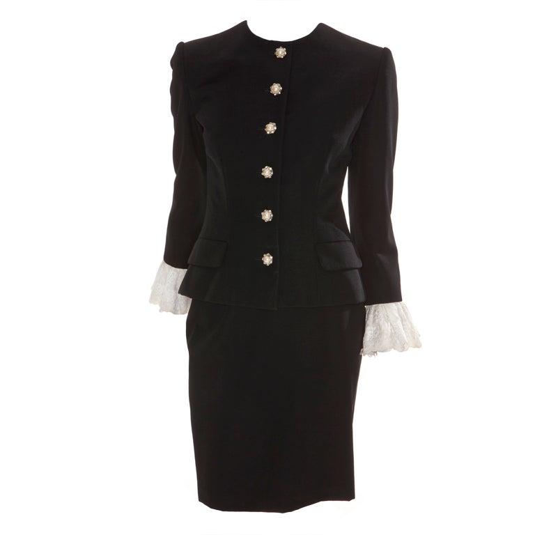80s Jean Patou by Christian Lacroix Haute Couture Elegant Black Suit 1