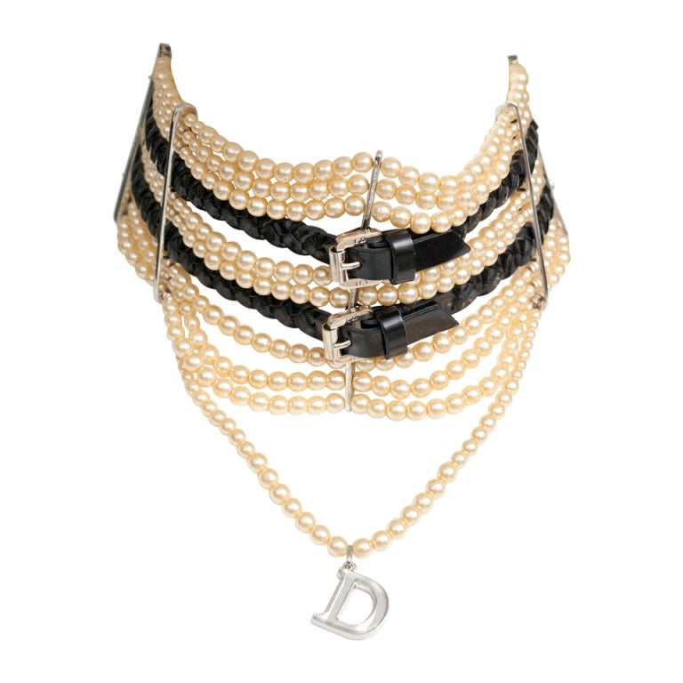 JOHN GALLIANO FOR CHRISTIAN DIOR MASSAI FAUX PEARLS NECKLACE