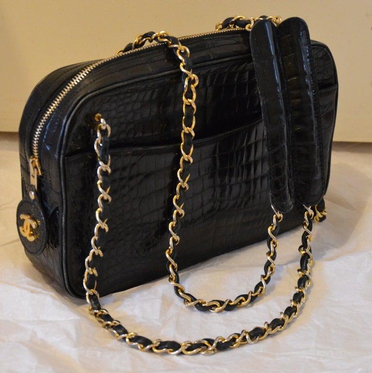 1990s black crocodile skin chanel bag image 6