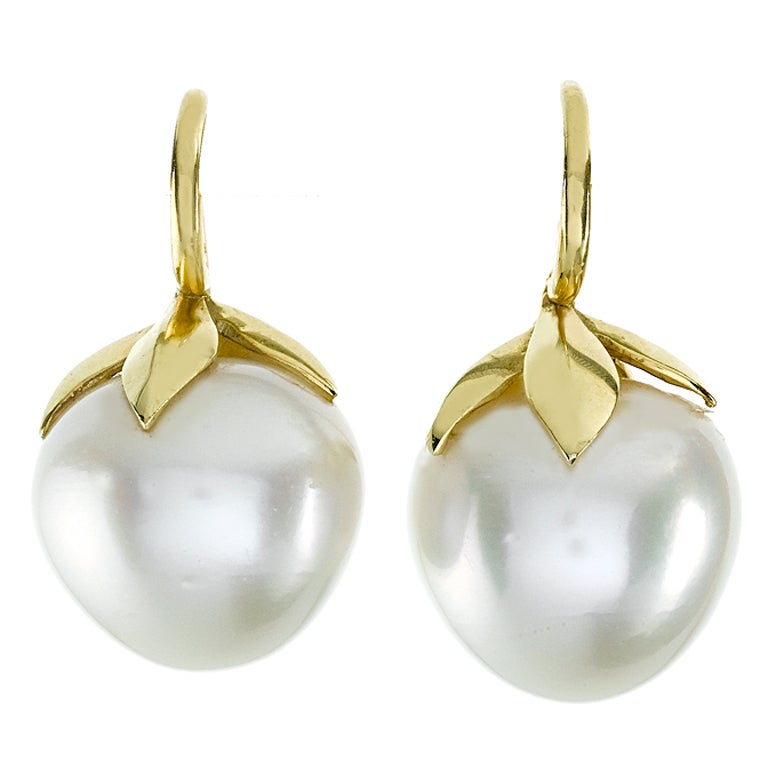 Large South Sea Pearl Gold Fruit Earrings At 1stdibs