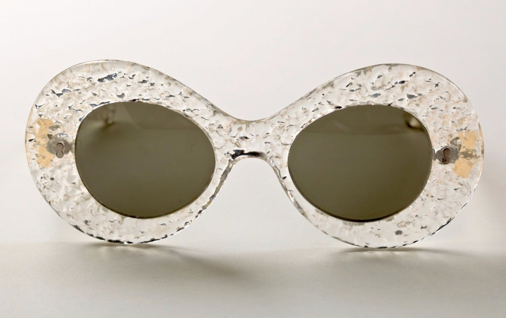 They don't get any groovier than these...great textured lucite sunglasses from France, circa 1950's.  Can't you see Audrey Hepburn walking down Rue Faubourg in these!