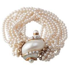 SEAMAN SCHEPPS 18K, Pearl & Diamond Turbo Shell Bracelet