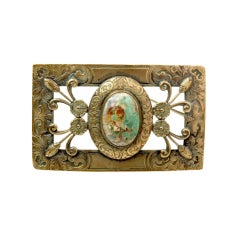 Victorian Turquoise Cabochon & Gilt Metal Brooch