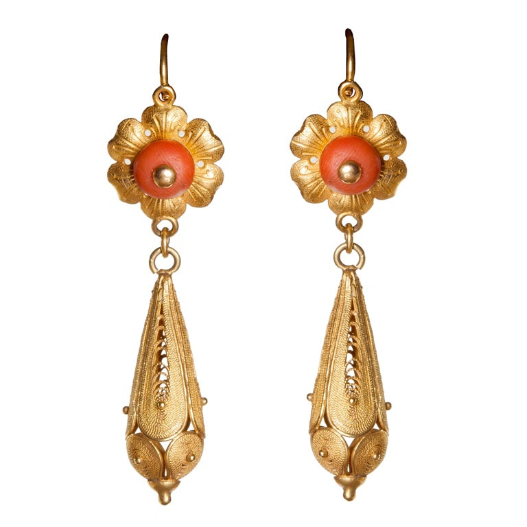 antique 18k gold and coral earrings at 1stdibs