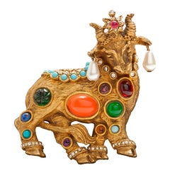 Rare Early K.J.L.  Jewels of Fantasy Bull Brooch
