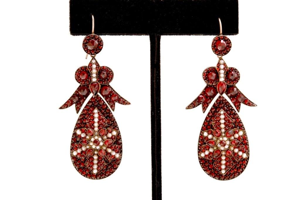 Spectacular Antique Bohemian Garnet Earrings 2