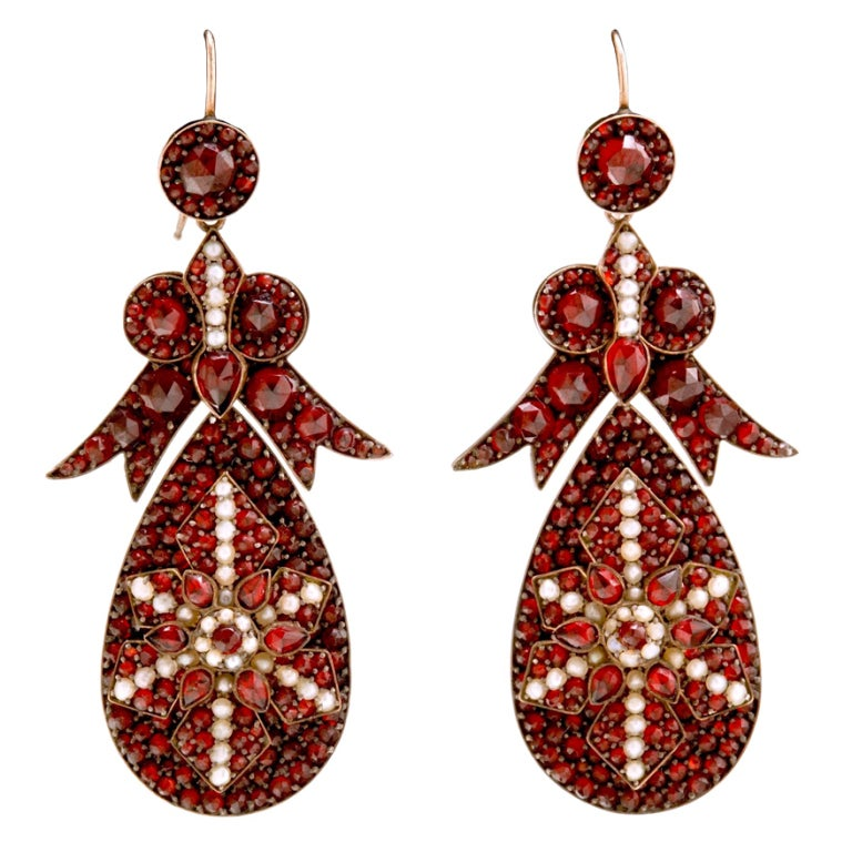 Spectacular Antique Bohemian Garnet Earrings For