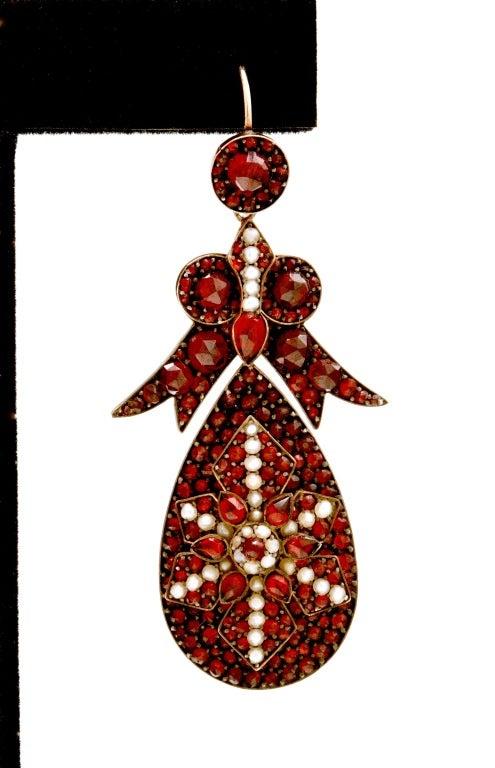 Victorian Spectacular Antique Bohemian Garnet Earrings For Sale