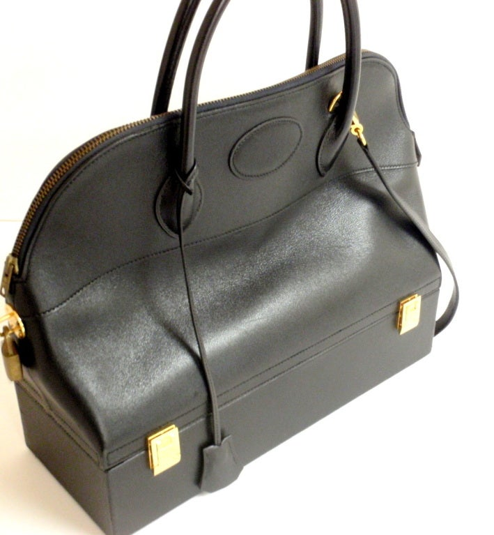 Hermès 34cm Black Leather Gold Hardware Bolide Macpherson Bag 2