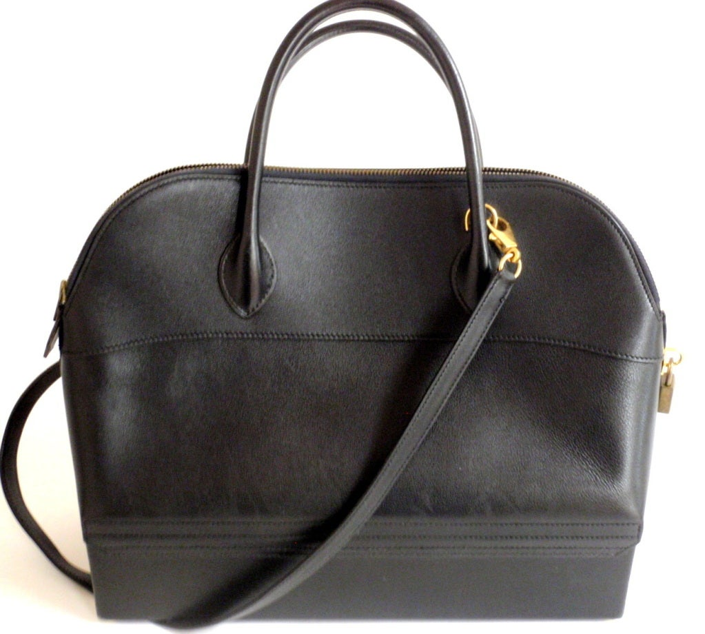 Hermès 34cm Black Leather Gold Hardware Bolide Macpherson Bag 3