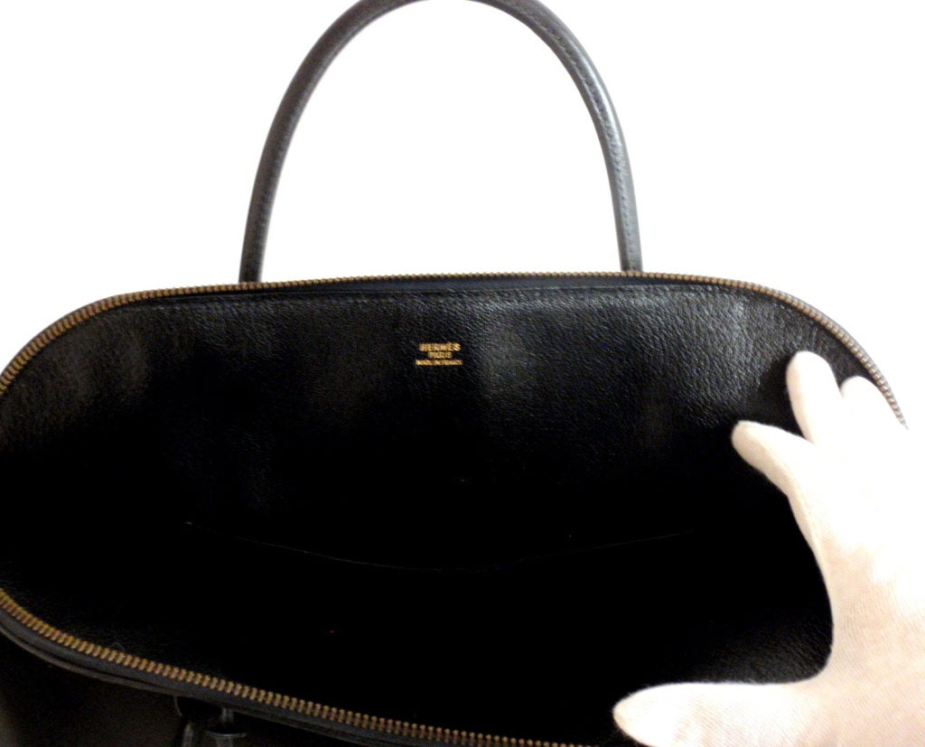 Hermès 34cm Black Leather Gold Hardware Bolide Macpherson Bag 4