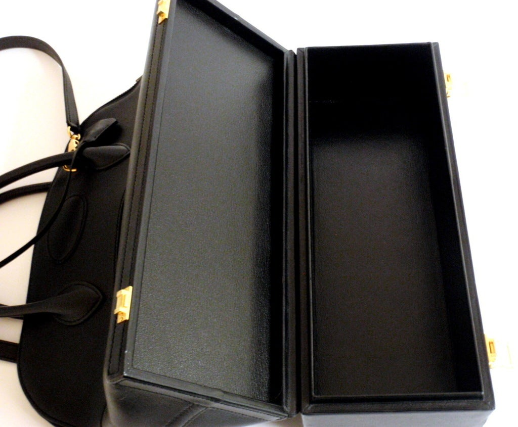 Hermès 34cm Black Leather Gold Hardware Bolide Macpherson Bag 6