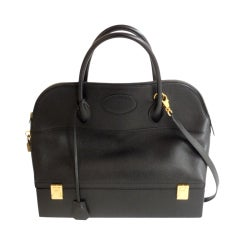 Hermès 34cm Black Leather Gold Hardware Bolide Macpherson Bag