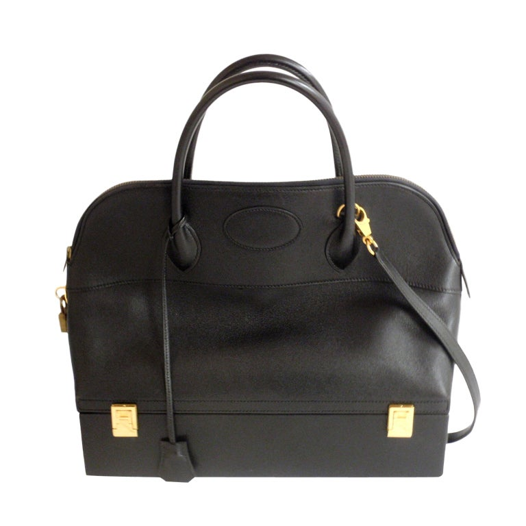 Hermès 34cm Black Leather Gold Hardware Bolide Macpherson Bag 1