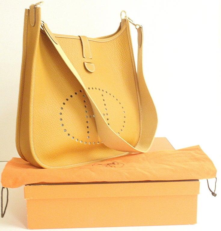Hermes Evelyne Motarde Clemence Leather GHW Shoulder Bag at 1stdibs