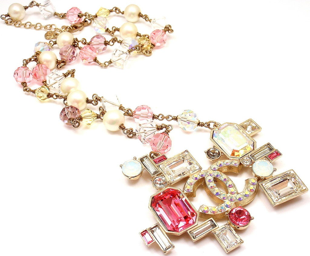 CHANEL French Couture Pink Crystal Mosaic Necklace 3