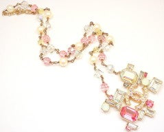 CHANEL French Couture Pink Crystal Mosaic Necklace thumbnail 4