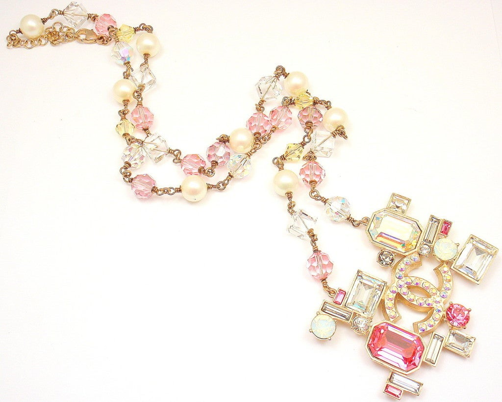 CHANEL French Couture Pink Crystal Mosaic Necklace 4
