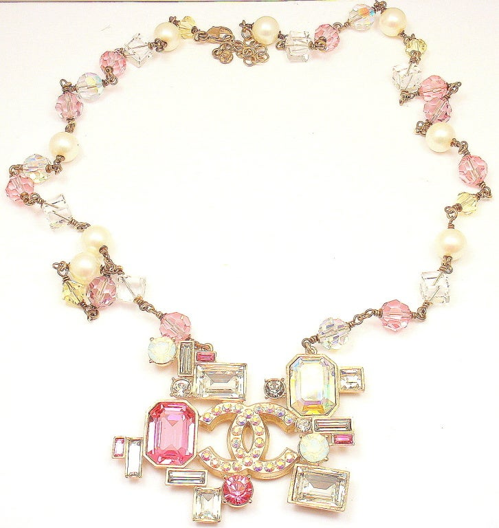 CHANEL French Couture Pink Crystal Mosaic Necklace image 5